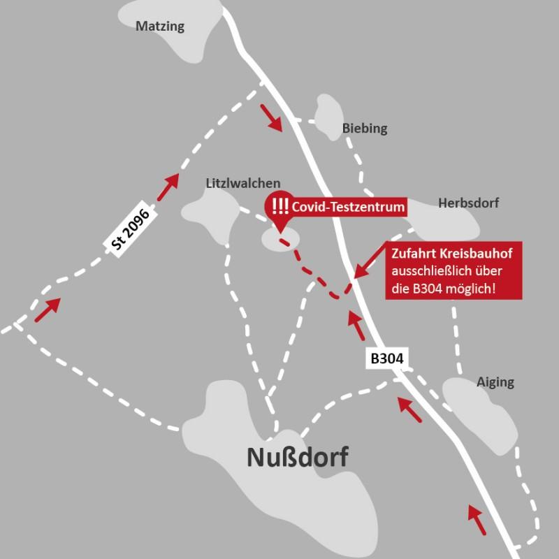 ©Landratsamt Traunstein: Anfahrtsbeschreibung Testzentrum am Kreisbauhof (für angemeldete Patienten).