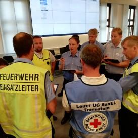 © Landratsamt Traunstein: Örtlicher Einsatzleiter Christof Grundner (Bildmitte) bespricht sich mit dem Führungsstab.