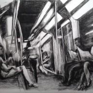"""© Horst Beese: """"In der Metro"""", Bleistiftzeichnung."""